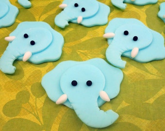 12 ELEPHANT Edible Cupcake Toppers