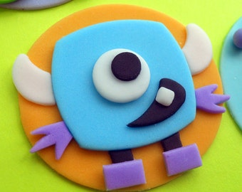 12 CUTE MONSTERS Fondant Cupcake Toppers