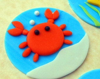 12 REEF CREATURES Fondant Cupcake Toppers