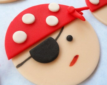 PIRATES Edible Cupcake Toppers - One dozen