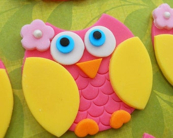 PINK and YELLOW OWL Edible Cupcake Toppers