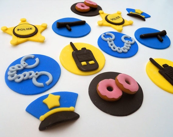 36 POLICE cupcake toppers.