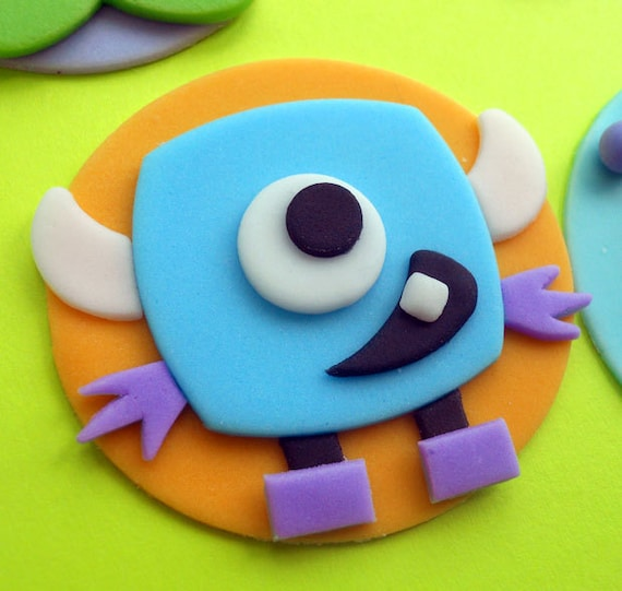 CUTE MONSTERS Fondant Cupcake Toppers