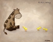 New Friends Series - Nursery Art Painting Print - Giraffe Meets Duckies 11x14 print