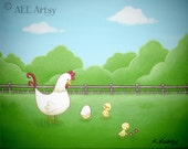 Out of your shell - Chicken acrylic canvas painting print - 8 x 10 matted wall art