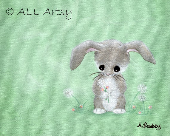 Bunny Wishes - 8x10 matted canvas nursery art painting print - childrens wall art