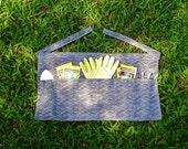 Half Apron - Garden Apron - Eco Friendly Hostess - Organic Cotton Hemp Wave Print - Organic Clothing