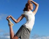 Organic Clothing Mini Skirt Women's Wrap Skirt Hemp Organic Cotton Black White Print Eco Friendly SAMPLE SALE