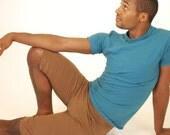 Organic Clothing - Men's Yoga Shorts - Organic Cotton Spandex Jersey - Brown - Eco Friendly