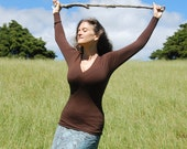 Organic Clothing - Fitted Shirt - Long Sleeve - V Neck - Cross Over Front - Brown - Eco Friendly