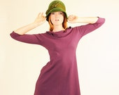 Vintage Inspired Dress Three Quarter Sleeve Cowl Neck in Phlox Purple Organic Cotton