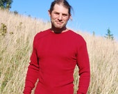 Long Sleeve Thermal Shirt for Men -  Crew Neck - Red Organic Cotton - Eco Friendly - Organic Clothing