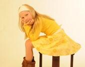 Girls Circle Skirt - Wrap Skirt -  Yellow Organic Cotton - Floral - Eco Friendly - Organic Clothing