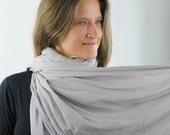 Oversized Scarf -  Shawl Wrap - Gray Gauze - Organic Cotton Eco - Friendly  - Organic Clothing - Ready to Ship