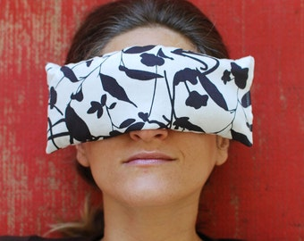 Eye Pillows - Eco Home Spa - Organic Cotton Lavender Flax - Black and White Print - Hostess