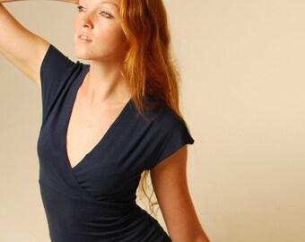 Women's Short Sleeve Shirt - Navy Blue Jersey - Eco Friendly - Organic Clothing