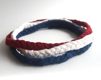 Braided Headband - Red White Blue - Patriotic Colors  - Eco Friendly - Organic Clothing - Set of Three