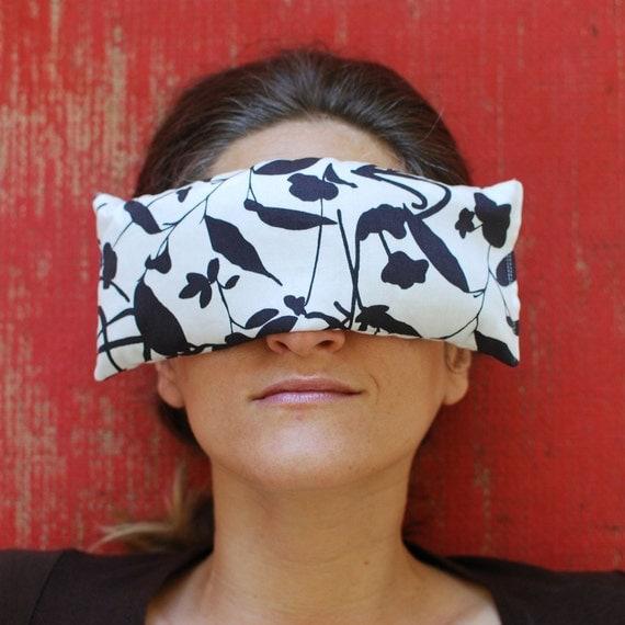 Eye Pillows - Eco Home Spa - Organic Cotton Lavender Flax - Black and White Print - Hostess