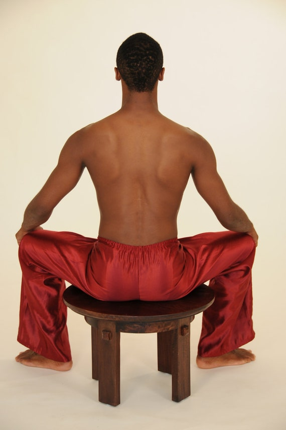 Men's Pants - Hemp Silk Charmeuse Lounging Pant in Red - Eco Friendly - Valentines Day