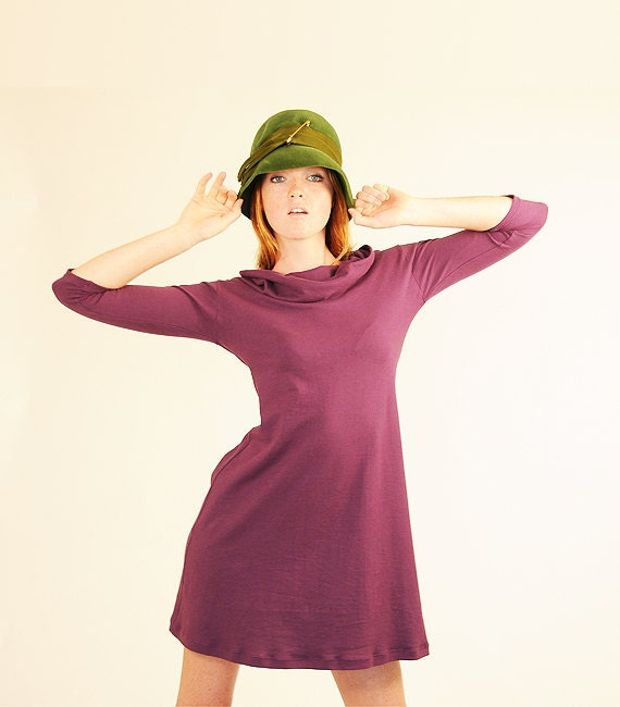 Vintage Inspired Dress Three Quarter Sleeve Cowl Neck in Phlox Purple Organic Cotton