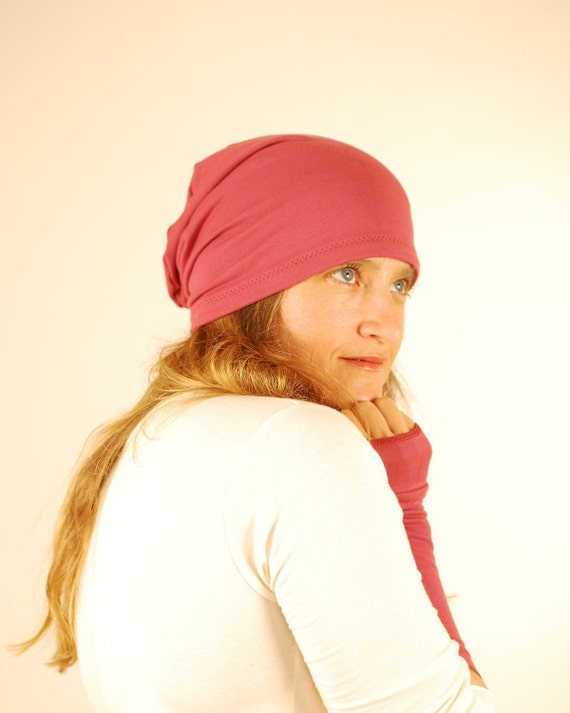 Hat - Slouchy Boho - Women - Warm Cozy Pink Wine - Organic Cotton Clothing - Eco Friendly