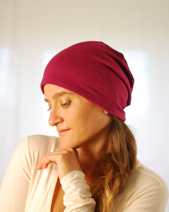 Eco Friendly Beanie - Slouchy Hat - Boho - Women - Bright Berry - Organic Clothing  - Ready to Ship