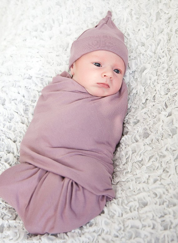Swaddling Blanket Newborn in Lavender Organic Cotton Eco Friendly