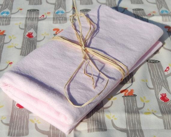 Organic Baby Girl Gift  - Receiving Blanket -  Organic Cotton Flannel Pink - Eco Friendly SALE