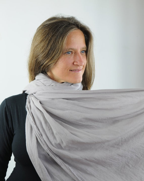 Oversized Scarf -  Shawl Wrap - Gray Gauze - Organic Cotton Eco - Friendly  - Organic Clothing - Ready to Ship