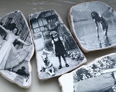Frau and Fraeulein Vintage Photo Stones Set of 4