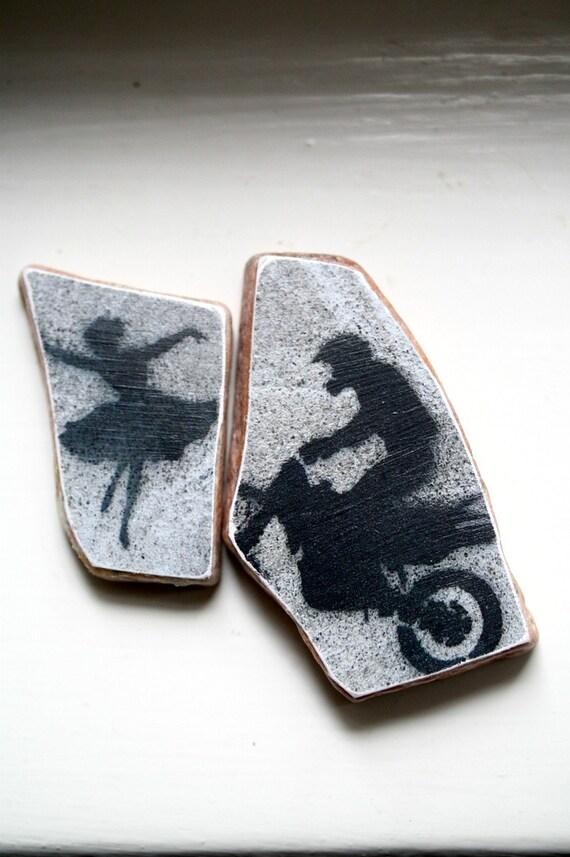 Ballerina Hearts Biker Original Photo Stones Set of Two