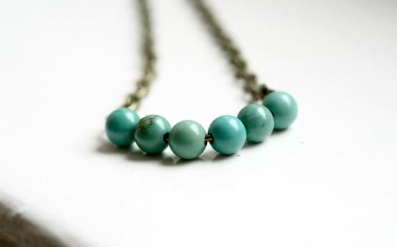 Chalk Turquoise Curve Necklace with Antique Brass / Modern Gemstone Necklace / Length 1