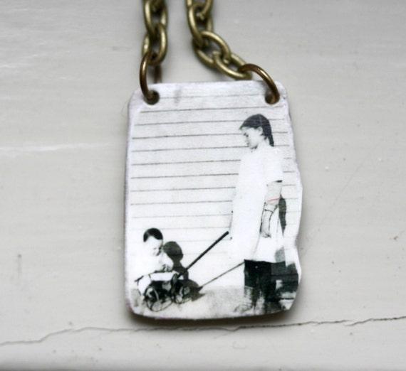 Raising Buck Vintage Photo Necklace