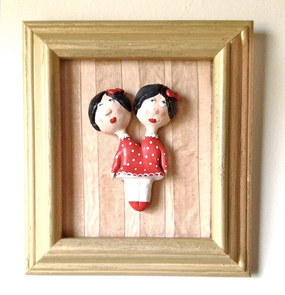 Siamese Twins, Circus Girls, Paper Clay 3D Picture