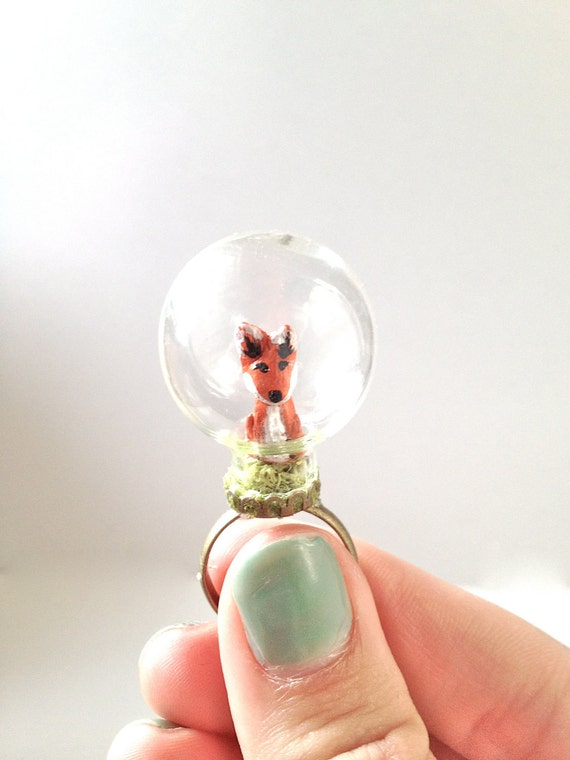 Clay Fox Ring, Glass Globe Terrarium Ring