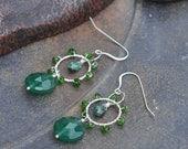 Green glory earrings. Chrome diopside wrapped earrings.