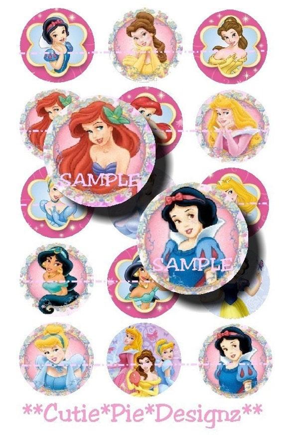 Disney Princess-1 Inch Bottle Cap Images Digital Collage Sheet 4X6