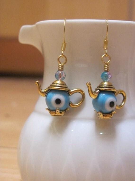 Gold Teapot Earrings Kettle Eyeball Evil Eye beads