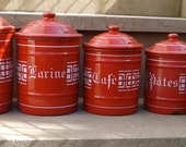 RESERVED RESERVED RESERVED  vintage exquisite set of 5 red enamel canisters containers 1940/50
