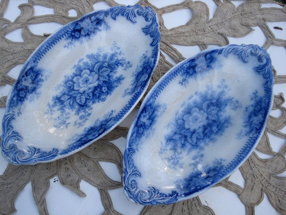 RESERVED FOR REBECCA Old french plates traditional blue flowers patterns