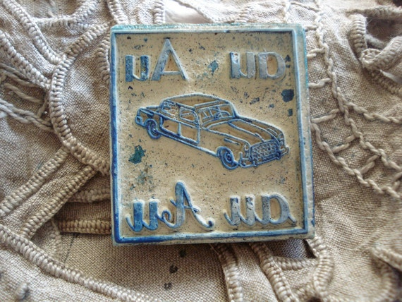 RESERVED FOR nanaandcompany vintage french rubber stamps letter A for automobile car