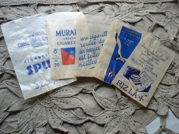 vintage 1930s French glassine paper bags tobacco cigarets
