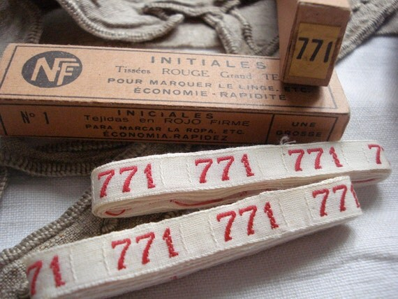 vintage french laundry label numbers 771 linen kitchen cloth....