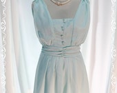 SALE OLD DESIGNED - Sweet Day - Mint Blue Cute Dress Charming Pastel Toned Gathered Shoulder Bow Tie Back Romantic Ladies Dress