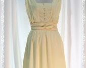 Sweet Day - Light Yellow Cute Dress Charming Pastel Toned Gathered Shoulder Bow Tie Back Romantic Ladies Dress