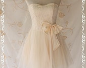 Princess Of The Night Cocktail Dress - Soft French Cream Biscuit Peaked Tutu Skirt Matching Satin Bow Embroidered Lace Top  Wedding Prom