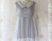 Cutie Girly - Sweet Romance Girly Mini Sundress Light Gray Tone Draped White Lace Peter Pan Collar Adorable Gorgeous Dress