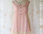 Cutie Girly - Sweet Romance Girly Mini Sundress Light Pink Tone Draped Cream Lace Peter Pan Collar Adorable Gorgeous Dress