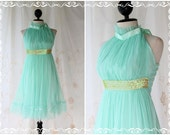 On The Floor - Cocktail Party Prom Wedding Dinner Bridesmaid Mint Blue Dress Halter See Through Sweet Romance