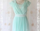 SALE - Beautiful Song - Sweet Feminine Candy Minty Blue Pastel Softy Pleated Dreamy Lady Casual Dress Romance